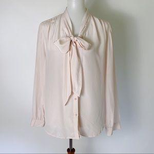 ANN TAYLOR Silk Tie Neck Button Up Shirt Pink XLP